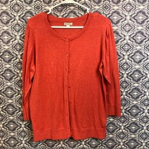 Merona Lightweight Coral Button Front Cardigan